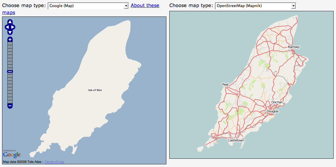 Google maps compared to OSM on the Isle of Man