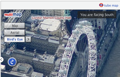 A bird's eye view of the london eye shown in the Multimap web site.