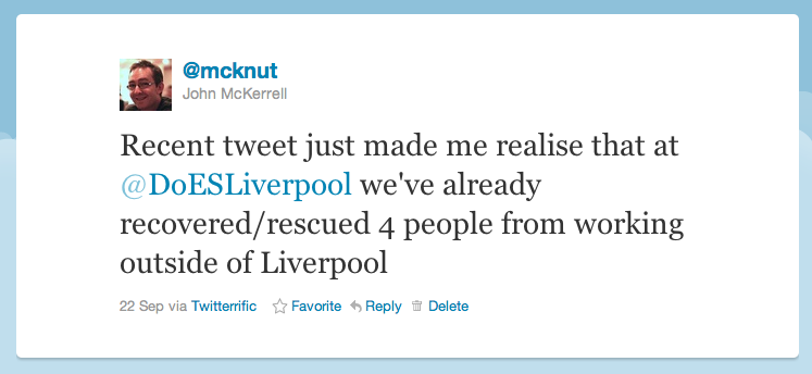 "Tweet text: ""Recent tweet just made me realise that at @DoESLiverpool we've already recovered/rescued 4 people from working outside of Liverpool"""